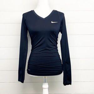 Nike Pro V Neck Dri-Fit Ling Sleeve Black Shirt